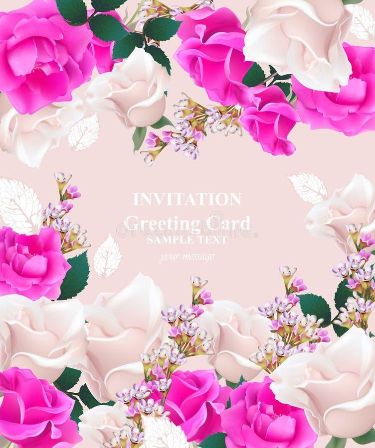 Vektor för bröllopinbjudankort Rosor och lavendelblommor Primularosa färgfärger vektor illustrationer