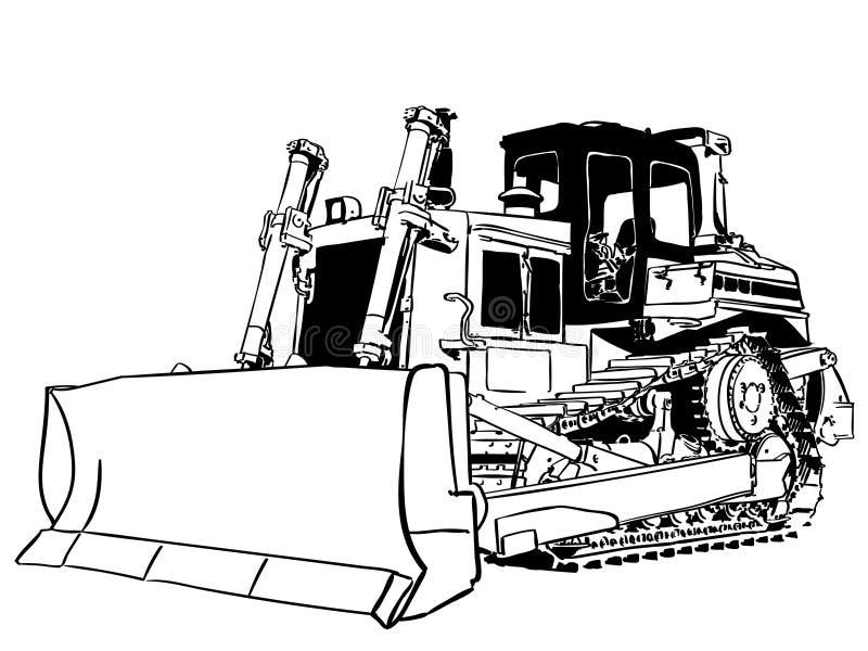Vektor för bulldozervektoreps, Eps, logo, symbol, konturillustration vid crafteroks för olikt bruk Besöka min website på https: vektor illustrationer