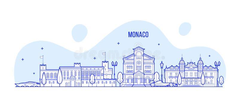 Vektor för byggnader för Monaco horisontstad vektor illustrationer