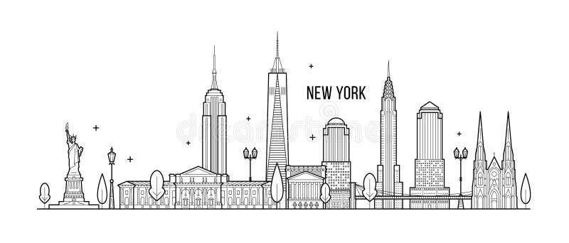 Vektor för byggnader för New York horisontUSA storstad royaltyfri illustrationer