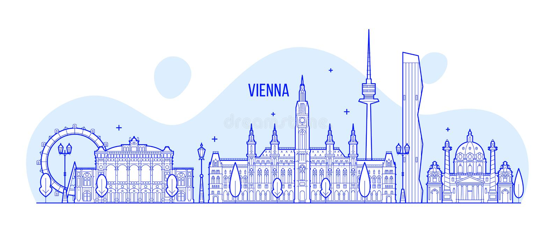 Vektor för byggnader för Wien horisontÖsterrike stad vektor illustrationer