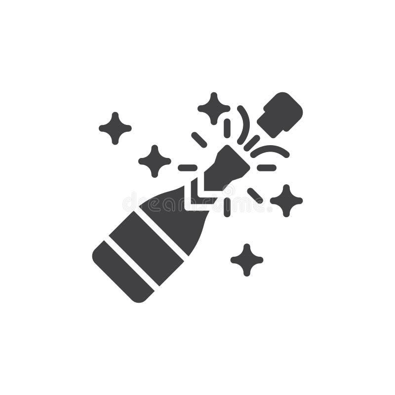 Vektor för Champagnepopsymbol, fyllt plant tecken, fast pictogram som isoleras på vit royaltyfri illustrationer
