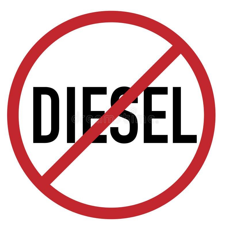 Vektor för cirkel för diesel- förbjudet begränsningstecken röd royaltyfri illustrationer
