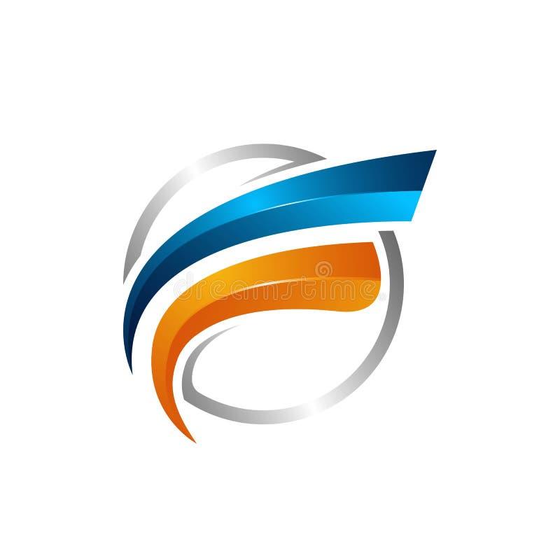 Vektor för cirkelswooshomlopp och satellit- kosmoslogo Mest bra logo för planet vektor illustrationer
