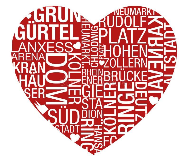Vektor för Cologne Typohjärta royaltyfri illustrationer