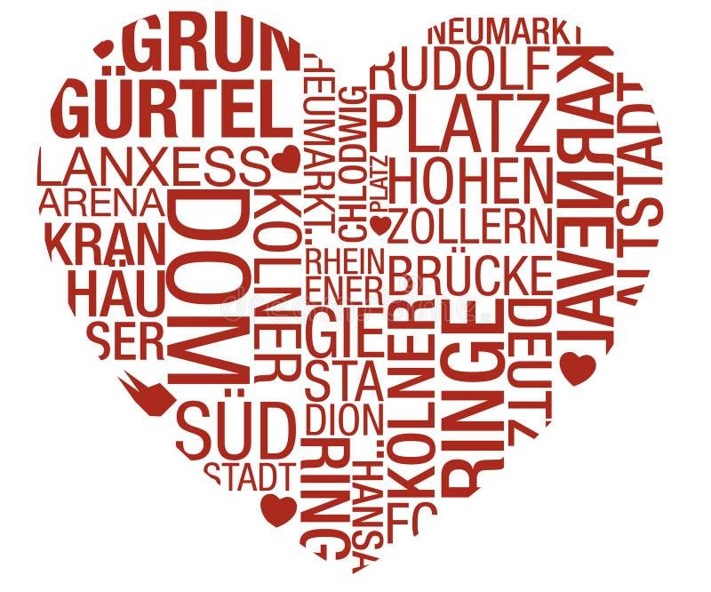 Vektor för Cologne Typohjärta stock illustrationer