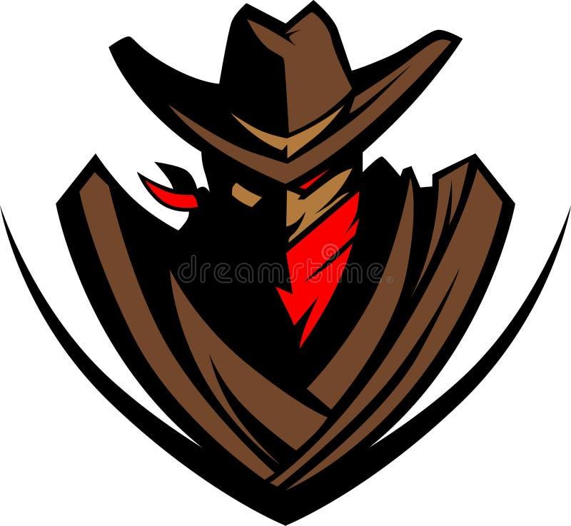 vektor för cowboylogomaskot stock illustrationer