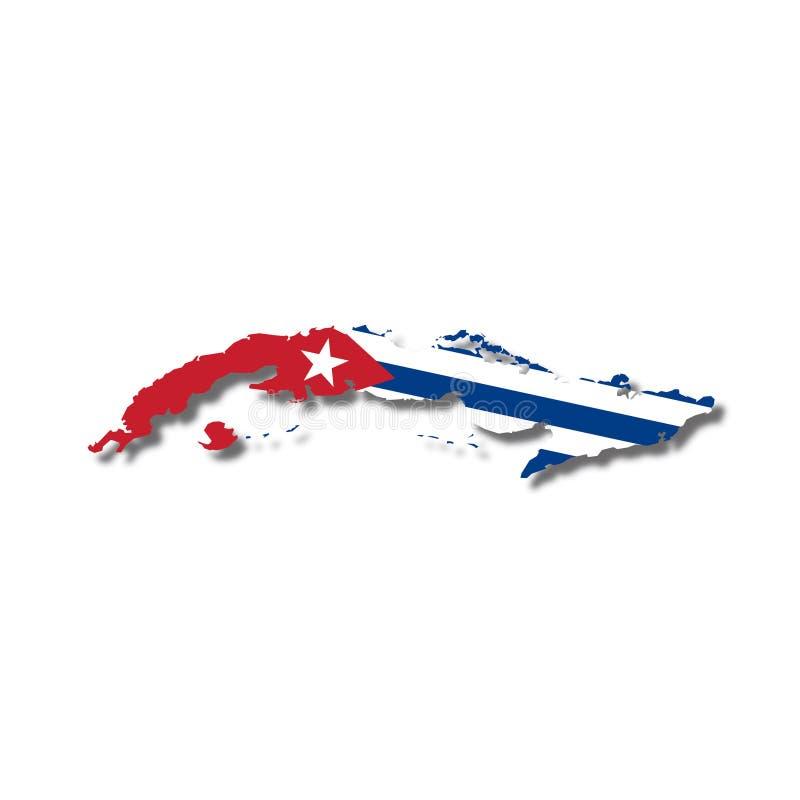 vektor för cuba flaggaöversikt royaltyfri illustrationer