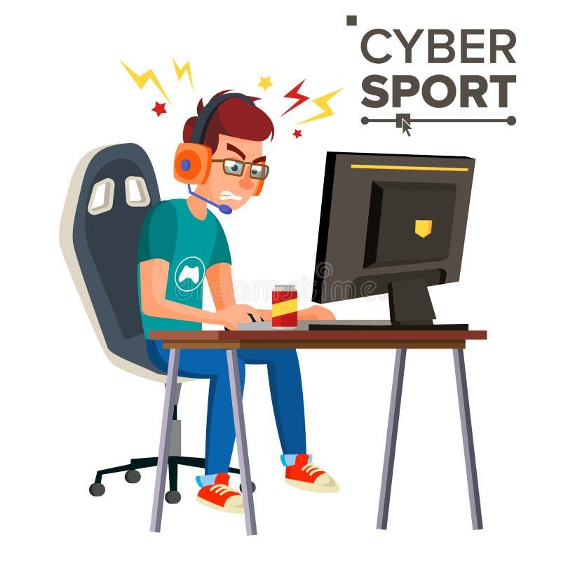Vektor för Cybersportspelare Yrkesmässigt dobbelströmbaner Strategivideospel konkurrens Cyberen spelar turnering stock illustrationer