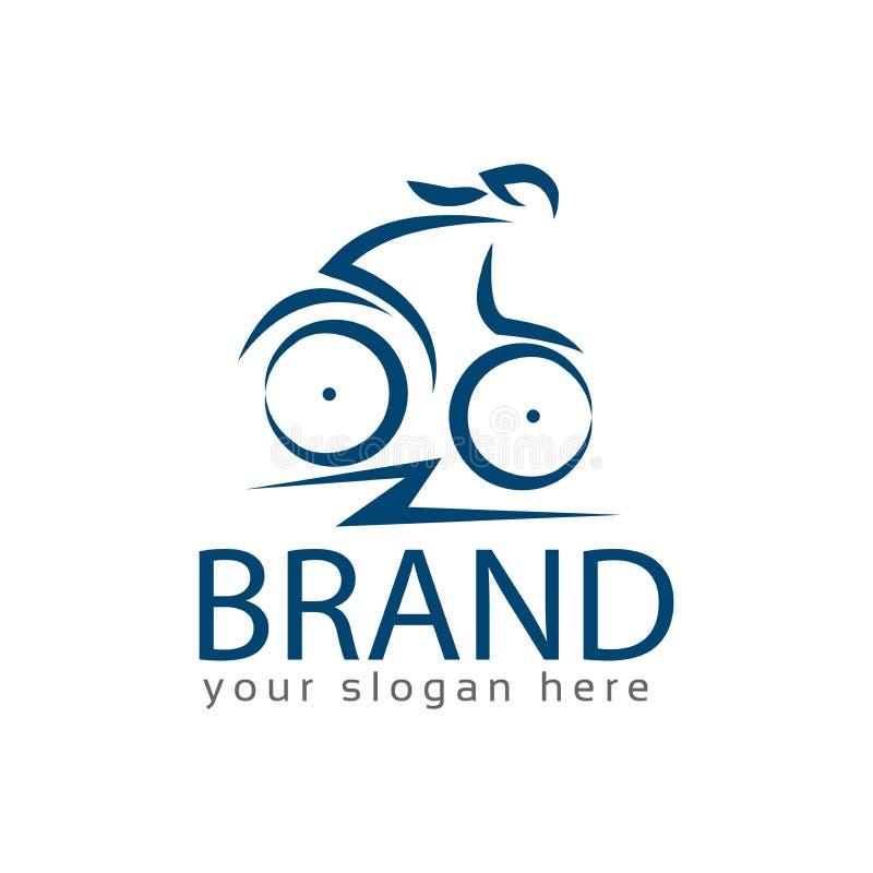 Vektor för cyklistkvinnamateriel, plana designer, logomall royaltyfri illustrationer
