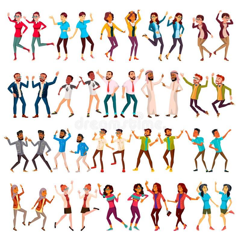 Vektor för dansfolkuppsättning Fira danser Att dansa folk flyttar sig Feriesemesterparti Folk som lyssnar till musik stock illustrationer