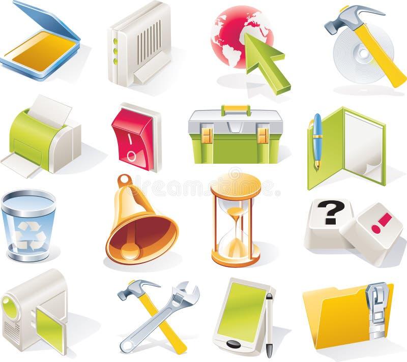 vektor för del för 7 symbolsobjekt set stock illustrationer