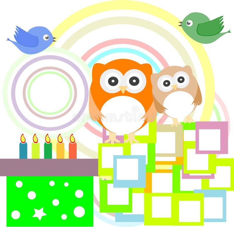 vektor för deltagare för owl för födelsedagkort gullig stock illustrationer