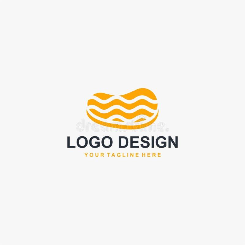 Vektor för design för biffköttlogo Matlogodesign för restaurangaffär stock illustrationer
