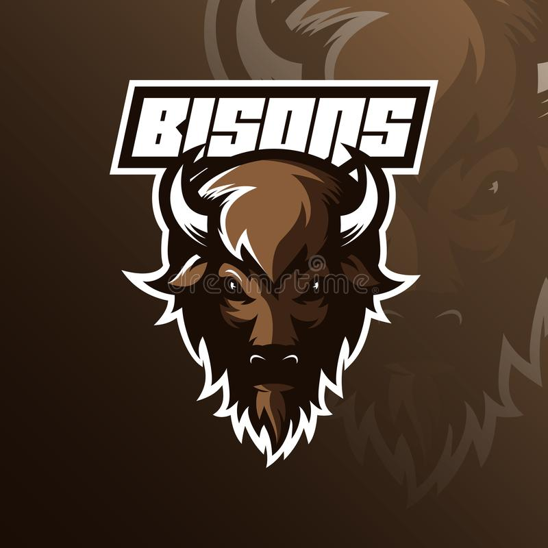 Vektor för design för bisonlogomaskot med modern illustrationbegreppsstil för emblem-, emblem- och tshirtutskrift Bisonhuvud vektor illustrationer