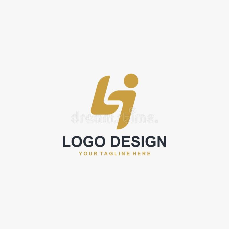 Vektor för design för bokstavsLI logo Abstrakt stilsortslogodesign stock illustrationer
