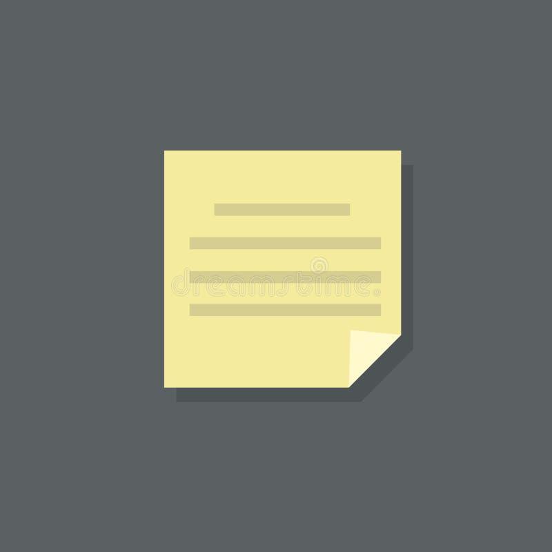 Vektor för design för lägenhet för pappers- dokument för textanmärkning stock illustrationer