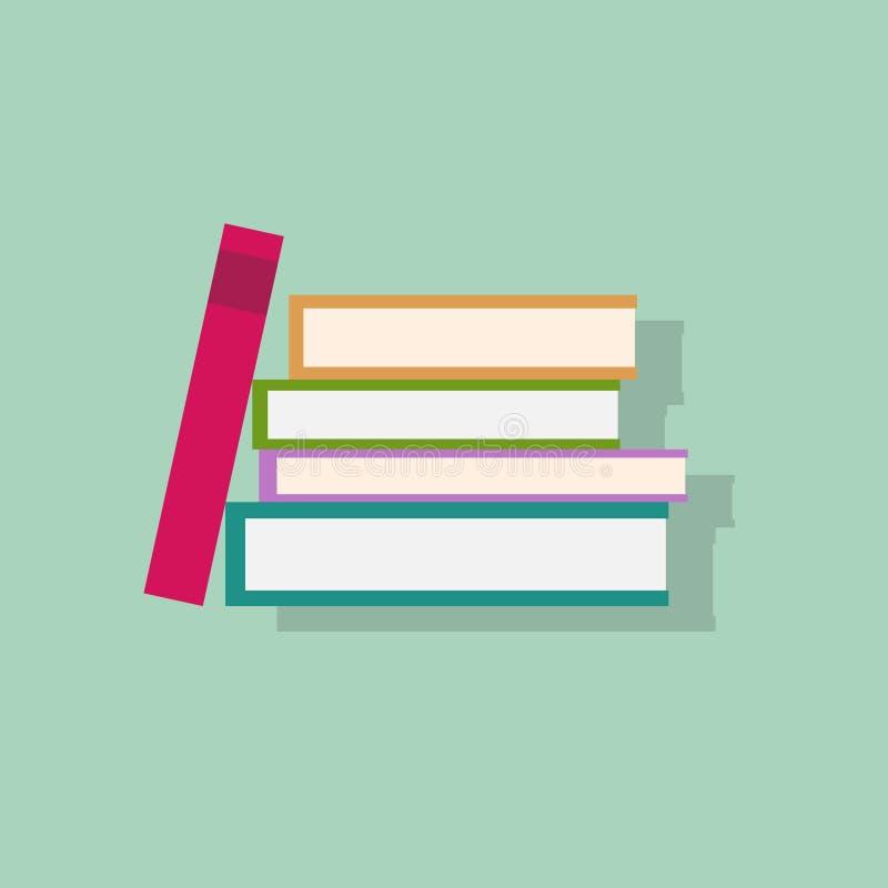 Vektor för design för symboler för lägenhet för bokbunt royaltyfri illustrationer