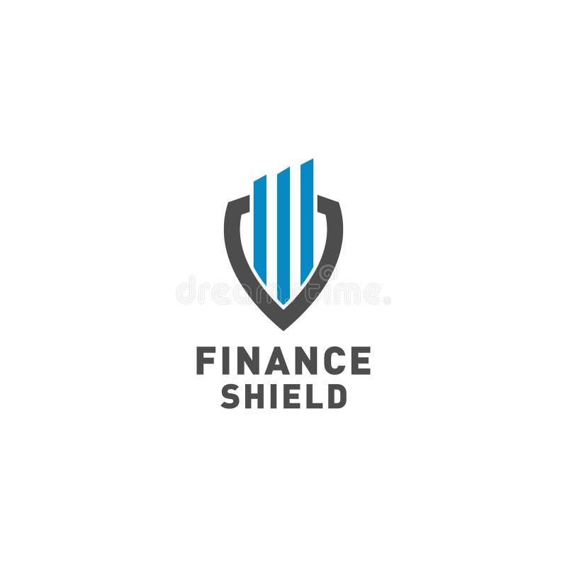 Vektor för design för finanssköldlogo stock illustrationer