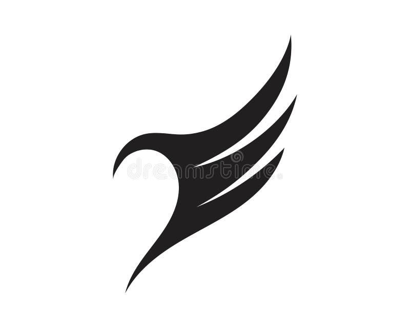 Vektor för design för illustration för vingsvartLogo Template vektor vektor illustrationer