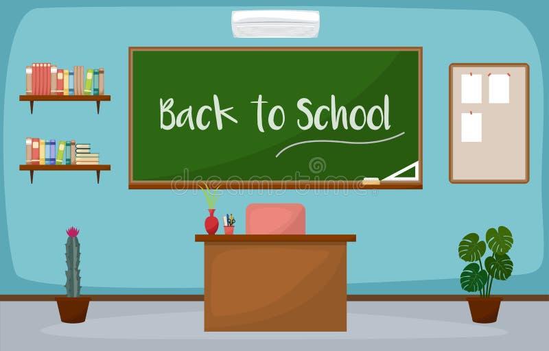 Vektor för design för inre för rum för skolaklassrum möblemang för svart tavla plan stock illustrationer