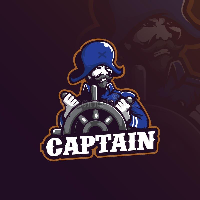Vektor för design för kaptenmaskotlogo med modern illustrationbegreppsstil för emblem, emblem och t-skjortautskrift kapten vektor illustrationer