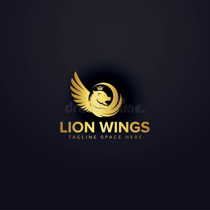Vektor för design för lejonvinglogo royaltyfri illustrationer