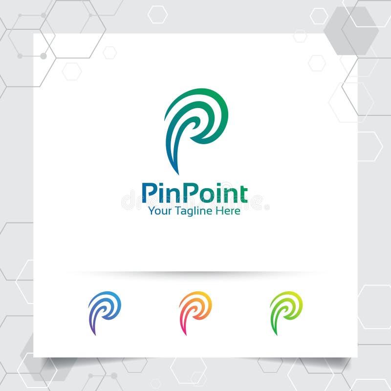 Vektor för design för logo för affärsfinansbokstav P med stiftet och det spiral begreppet för att marknadsföra, att konsultera, b vektor illustrationer