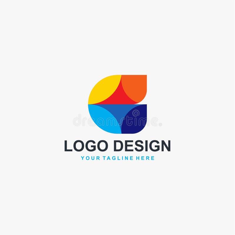 Vektor för design för logo för fulla färger för bokstav C vektor illustrationer