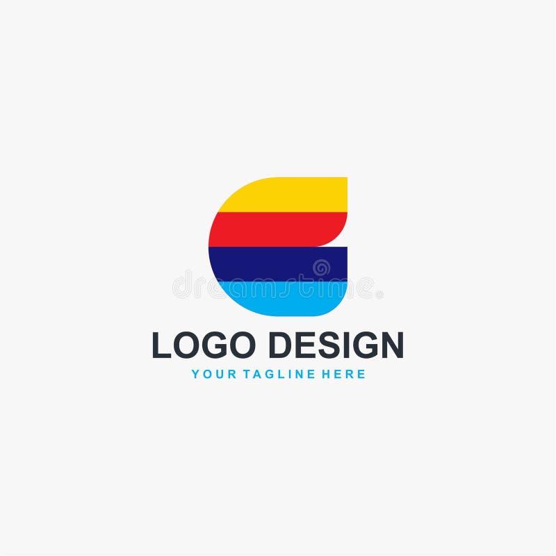 Vektor för design för logo för fulla färger för bokstav C stock illustrationer