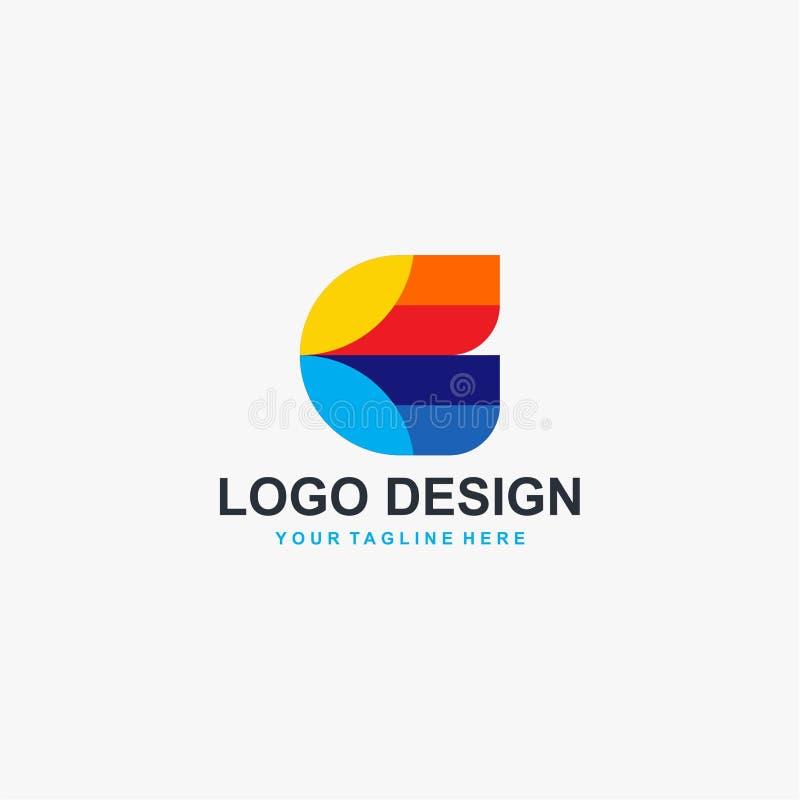 Vektor för design för logo för fulla färger för bokstav C royaltyfri illustrationer