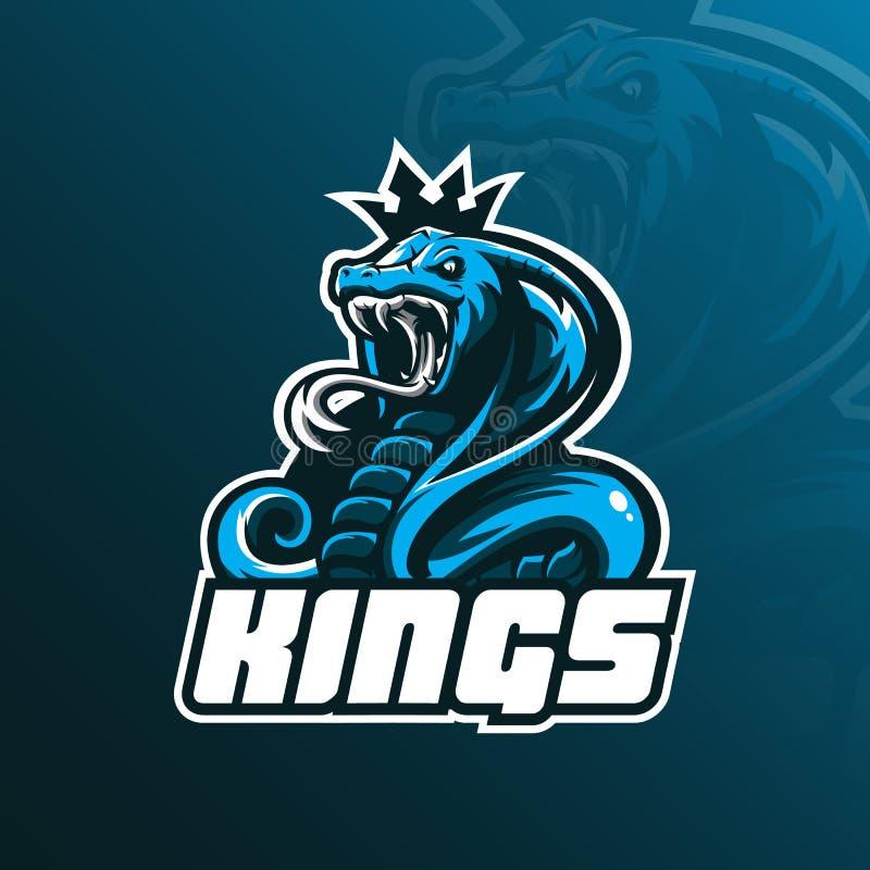 Vektor för design för logo för maskot för konungkobra med modern illustrationbegreppsstil för emblem-, emblem- och tshirtutskrift vektor illustrationer