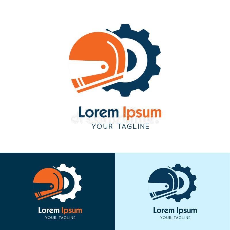 Vektor för design för mall för symbol för hjälmkugghjullogo, emblem, designidé, idérikt symbol, hjälmservice - vektor royaltyfri illustrationer