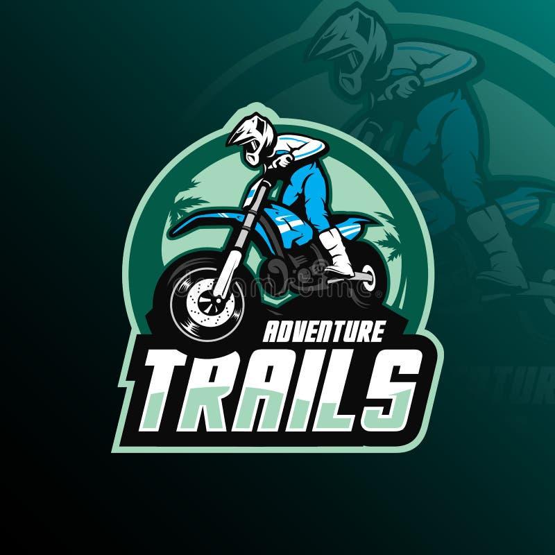 Vektor för design för motocrossmaskotlogo med modern illustrationbegreppsstil för emblem-, emblem- och tshirtutskrift motocross stock illustrationer