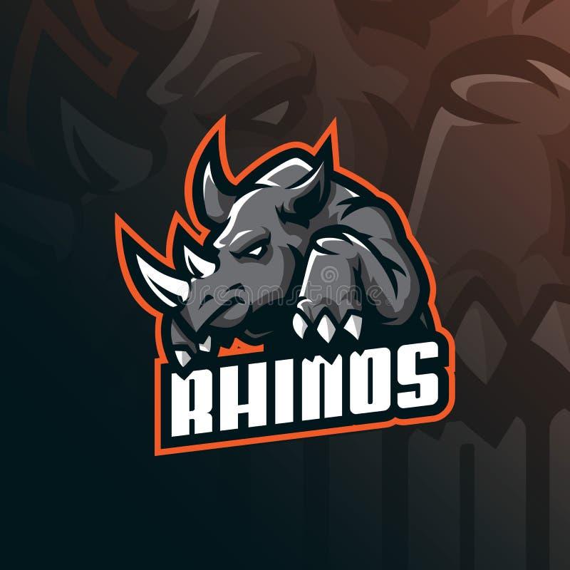 Vektor för design för noshörningmaskotlogo med modern illustrationbegreppsstil för emblem-, emblem- och tshirtutskrift ilsken nos stock illustrationer