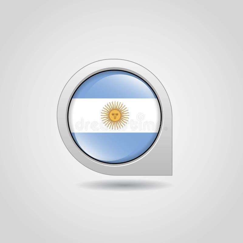 Vektor för design för pekare för Argentina flaggaöversikt royaltyfri illustrationer