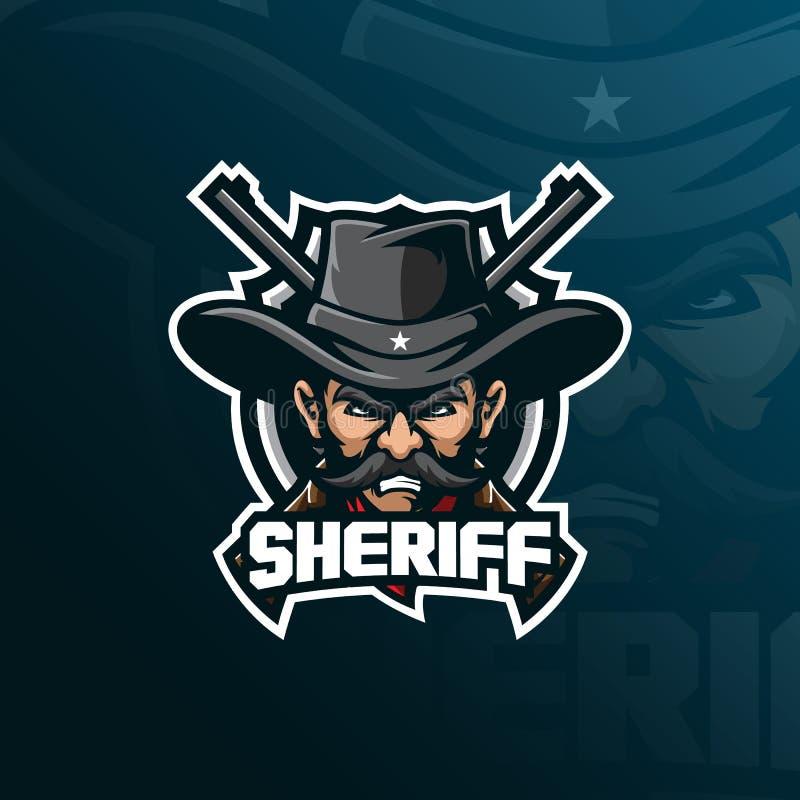 Vektor för design för sheriffmaskotlogo med modern illustrationbegreppsstil för emblem-, emblem- och tshirtutskrift sheriff vektor illustrationer