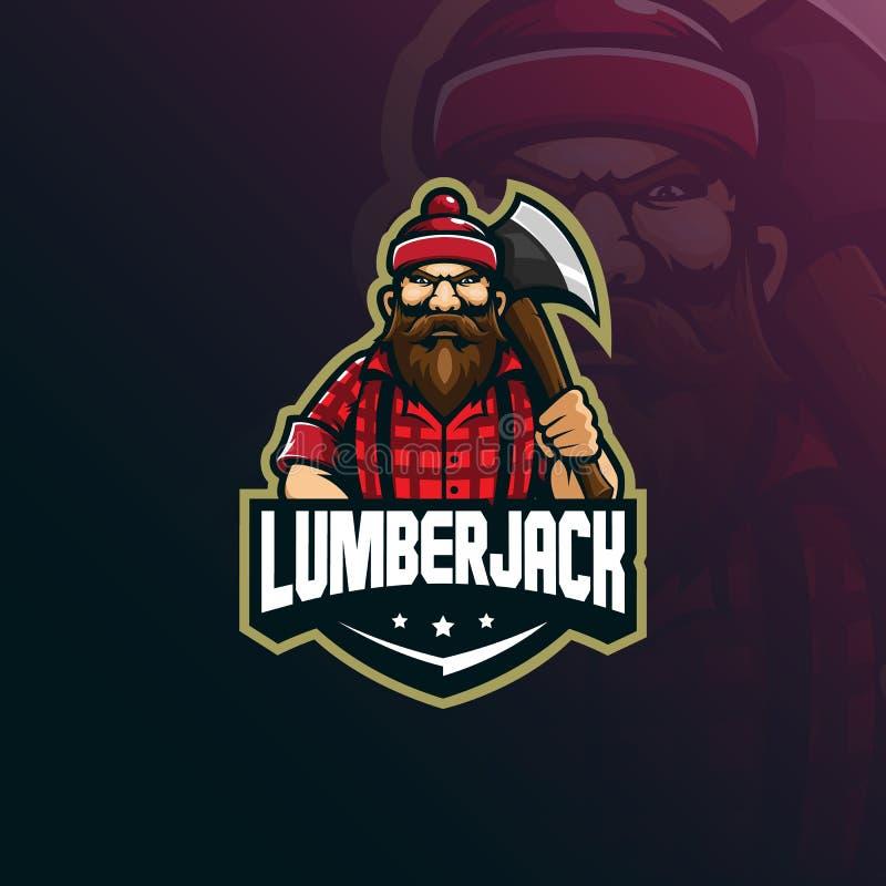 Vektor för design för skogsarbetaremaskotlogo med modern illustrationbegreppsstil för emblem, emblem och t-skjortautskrift lumber vektor illustrationer