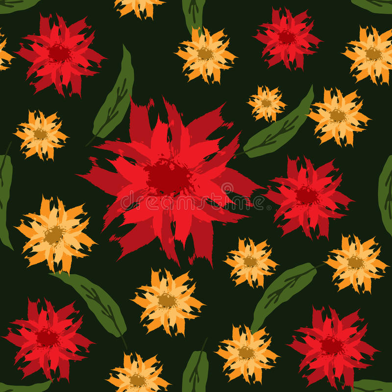 vektor för detaljerad teckning för bakgrund blom- Blommor och sidor målade borsteslaglängder seamless modell vektor illustrationer
