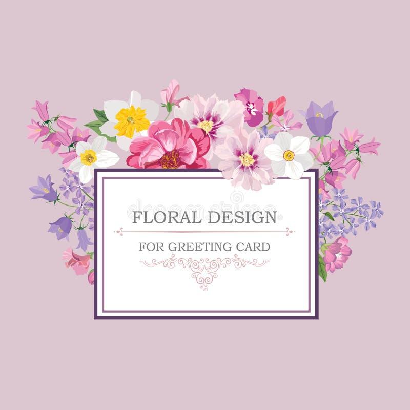 vektor för detaljerad teckning för bakgrund blom- Räkning för blommabuketttappning Krusidullkort w stock illustrationer