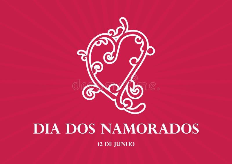 Vektor för diameter-DOS Namorados stock illustrationer