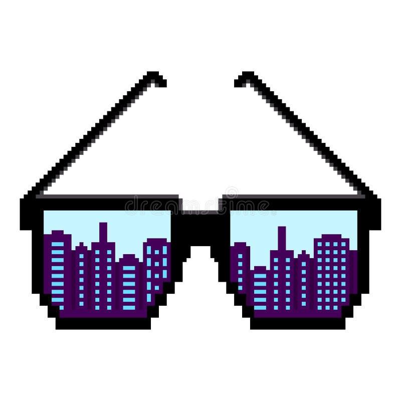 vektor för digitalt för familj för konst seamless lyckligt för illustration PIXEL för modell PIXELsolglasögon Sänka designstil Mo royaltyfri illustrationer