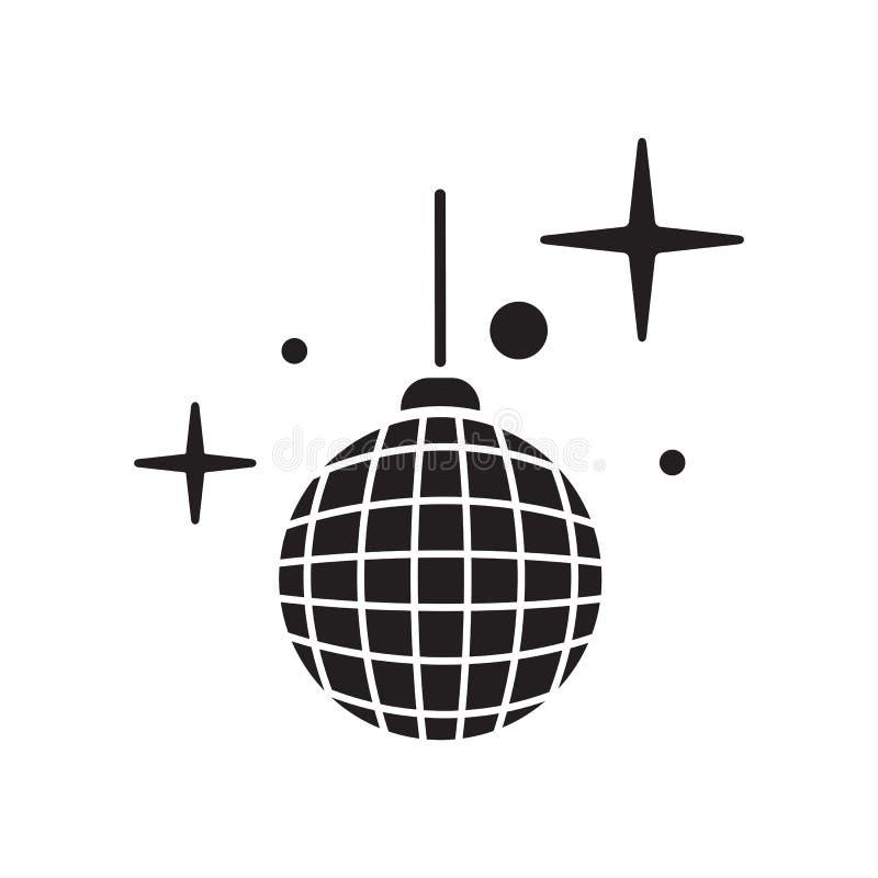 Vektor för diskobollsymbol Skinande upplyst simbol stock illustrationer