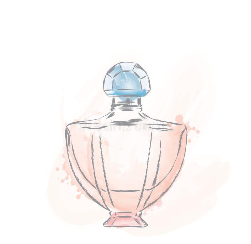 Vektor för doftflaska Moderiktigt tryck Mode & stil doft Doftvattenfärg stock illustrationer