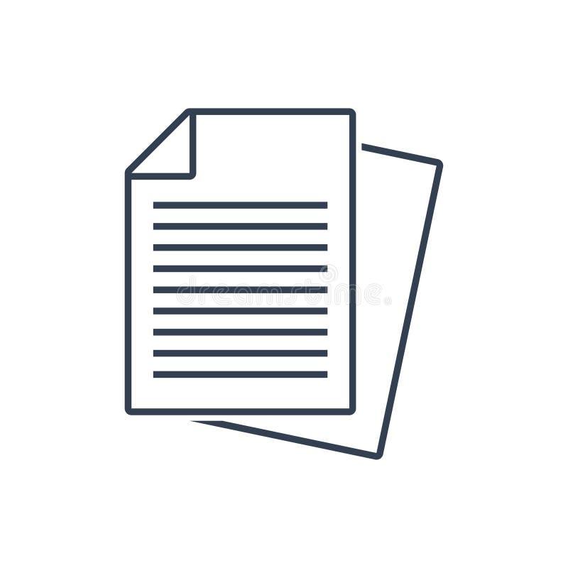 Vektor för dokumentsymbol royaltyfri illustrationer