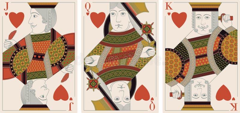 vektor för drottning för hjärtastålarkonung royaltyfri illustrationer