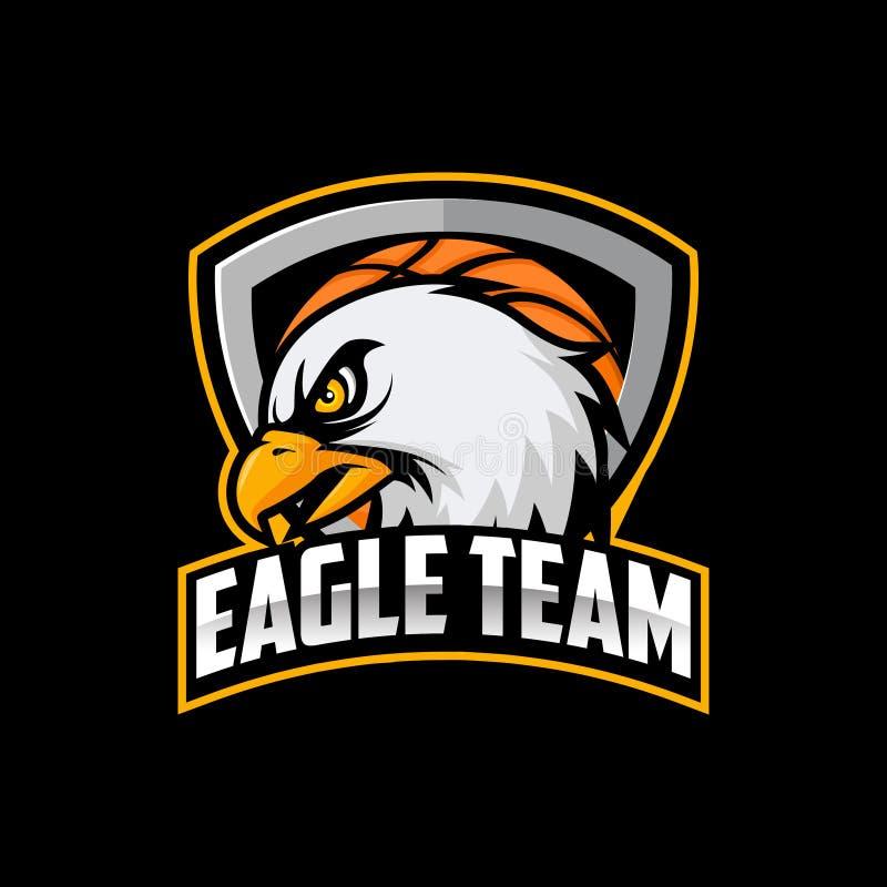 Vektor för Eagle logobasketlag som isoleras i svart bakgrund stock illustrationer