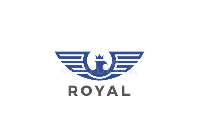 Vektor för Eagle Wings Logo Royal designkontur honom stock illustrationer
