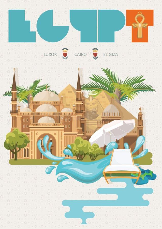 Vektor för Egypten loppadvertizing Egyptiska traditionella symboler i plan design Abstrakt vektorillustration Semester och sommar royaltyfri illustrationer