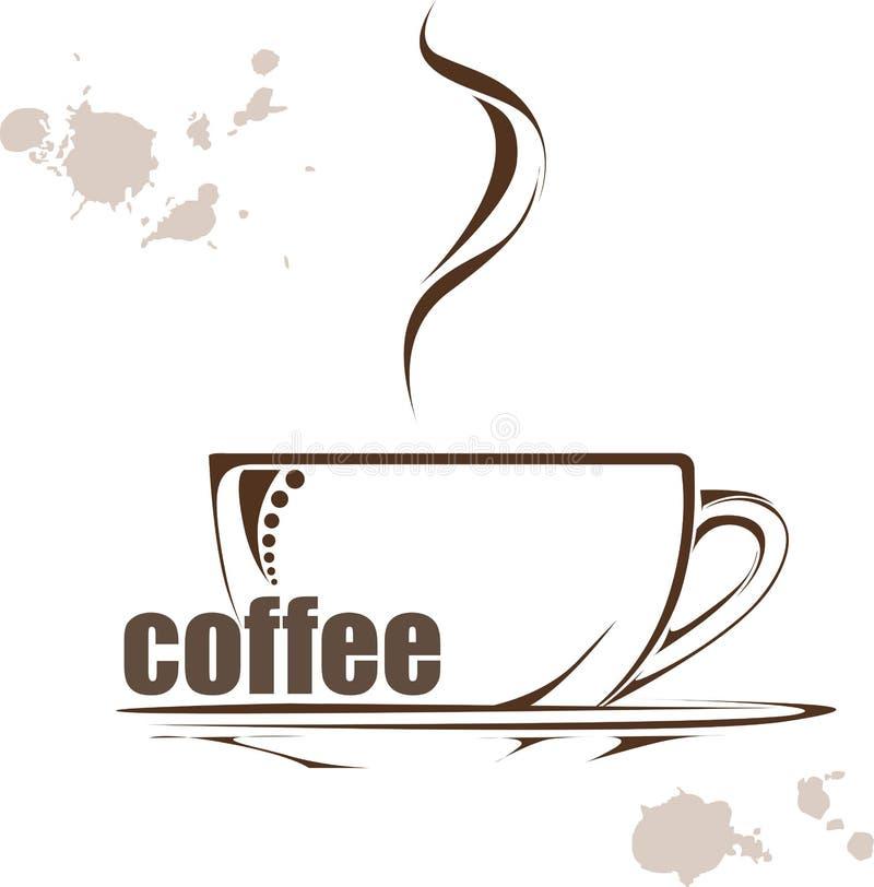 vektor för element för bakgrundskaffedesign illustration med en kopp kaffe och hand drog wods vektor illustrationer